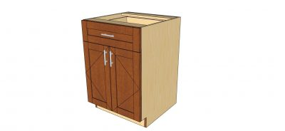 angled view 2 door 1 drawer cabinet