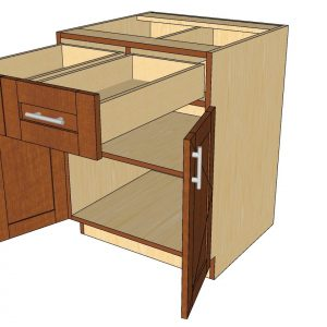 open 2 door 2 drawer split cabinet