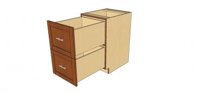 open 2 drawer cabinet