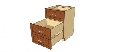 open 3 drawer cabinet