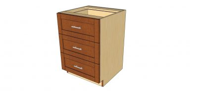 angled view 3 drawer cabinet