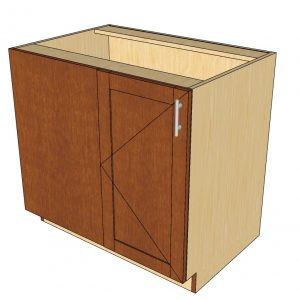 angled view left blind 1 door cabinet