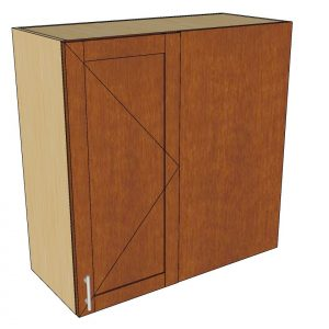 angled view right blind 1 door wall cabinet