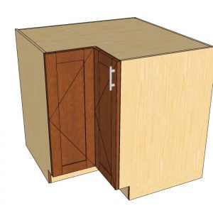 angled view 90 degree corner cabinet
