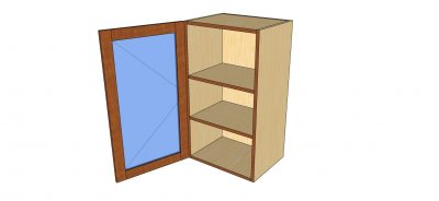 open 1 door glass wall cabinet