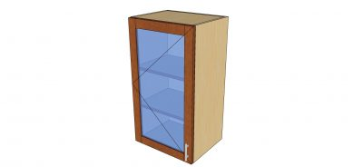 angled view 1 door glass wall cabinet