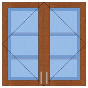2 glass door wall cabinet