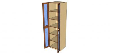 open tall glass 2 door cabinet
