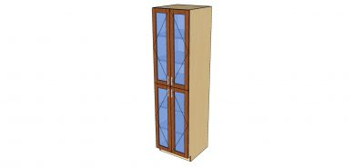 angled view tall glass 2 door cabinet