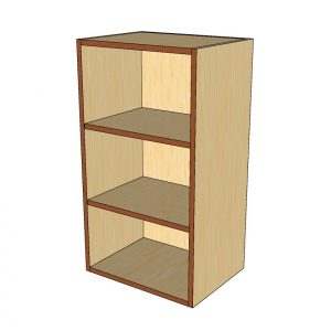angled view open wall cabinet