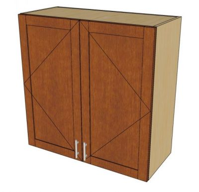 angled view 2 door wall cabinet
