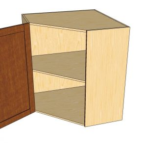 open 1 door angled wall cabinet