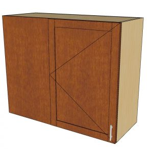 angled view left blind 1 door wall cabinet